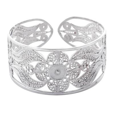 Silver filigree cuff bracelet, 'Snow Blossom' - Womens Sterling Silver Filigree Artisan Cuff Bracelet
