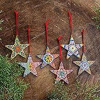 Ceramic ornaments, 'Folk Art Christmas Stars' (set of 6)