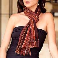 Cotton scarf, 'Maya Chocolate Shimmer'