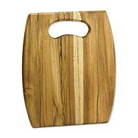 Teakwood cutting board, 'Barrel' - Artisan Wood Cutting Board with Cutout Handle
