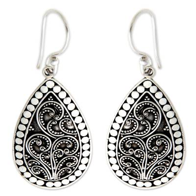 Sterling silver flower earrings, 'Denpasar Mystique' - Sterling Silver Indonesian Dangle Earrings