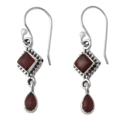 Garnet dangle earrings, 'Fire of Love' - Garnet and Sterling Silver earrings
