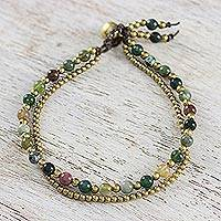 Jasper beaded bracelet, 'Dazzling Green Red Harmony' - Jasper and Brass Beads Double Strand Bracelet