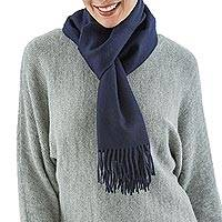 Men's 100% alpaca scarf, 'Midnight Blue' - Baby Alpaca Warm Soft Winter Scarf