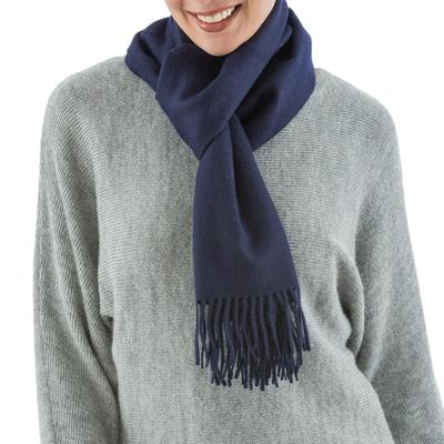 Men's 100% alpaca scarf, 'Midnight Blue' - Baby Alpaca Warm Soft Winter Scarf