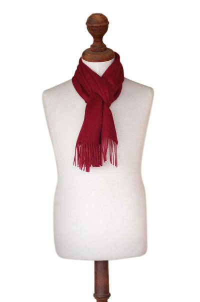 Men's 100% alpaca scarf, 'Cherry Red' - Baby Alpaca Warm Soft Winter Scarf