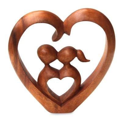 Wood sculpture, 'Story of Love' - A Couple's Kiss Artisan Hand Carved Wood Sculpture
