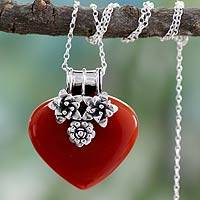 Carnelian heart necklace, 'Love Declared' - Carnelian and Sterling Silver Heart and Flowers Pendant Neck