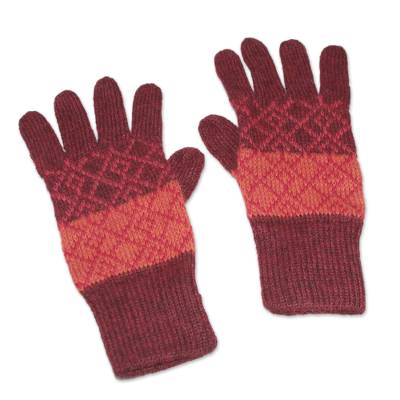 100% alpaca gloves, 'Andean Diamonds' - Alpaca gloves