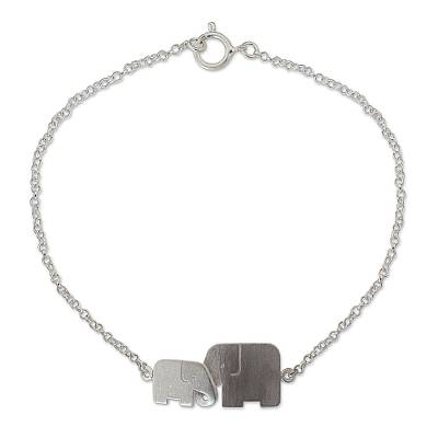 Sterling silver bracelet, 'Family Love' - Unique Artisan Bracelet - Loving Elephant Jewelry