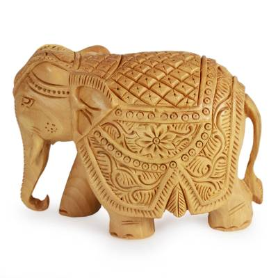 Wood sculpture, 'Majestic Elephant' (small) - Wood Elephant Sculpture