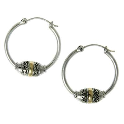 Gold accent hoop earrings, 'Lotus Seed' - Gold Accent Hoop Earrings