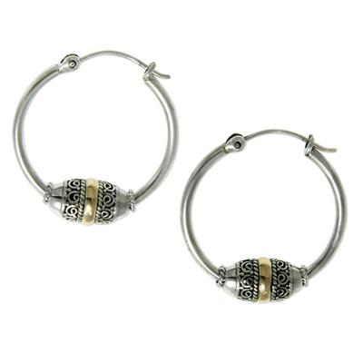 Gold accent hoop earrings, 'Lotus Seed' - Gold Accent Hoop Earrings