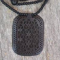 Ebony wood necklace, 'Loyal Mughal Enchantress' - Long Pendant Necklace Artisan Carved Black Wood