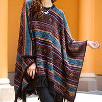 100% alpaca poncho, 'Life Celebration' - Multi-color Womens Alpaca Poncho with Fringe