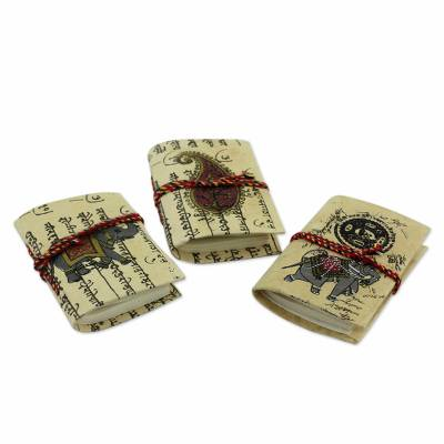 Handmade paper mini journals, 'Jaipur Verses' (set of 3) - Handmade Paper Small Blank Journals