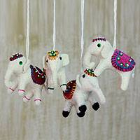 Wool ornaments, 'White Elephants' (set of 4)