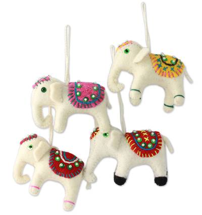 Wool ornaments, 'White Elephants' (set of 4) - Whimsical Non-Breakable Christmas Ornaments in Soft Fabric