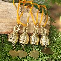 Brass ornaments, 'Buddhist Bells' (set of 4) - Brass Bell Ornaments