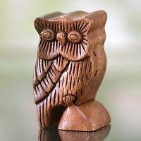 Wood puzzle box, 'The Owl's Secret' - Unique Hand Crafted Artisan Brown Wood Puzzle Box