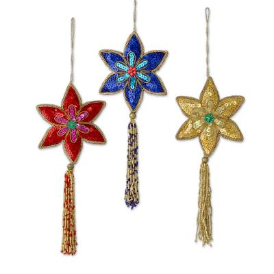 Beaded ornaments, 'Poinsettia' (set of 3) - Hand Beaded Multicolour Indian Ornament Set with Tassels