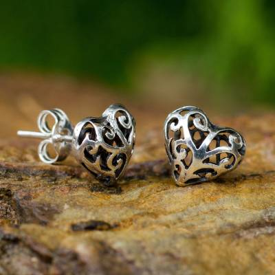 Sterling silver heart earrings, 'Tender Hearts' - Sterling Silver Heart Openwork Stud Earrings