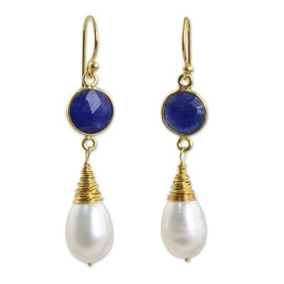 Gold plated cultured pearl and lapis lazuli dangle earrings, 'Midnight Moon' - Sapphire and Cultured Freshwater Pearl Earrings