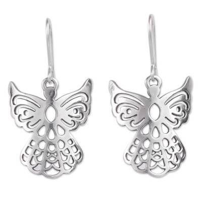 Sterling silver dangle earrings, 'Cajamarca Angels' - Sterling Silver Openwork Design Dangle Earrings