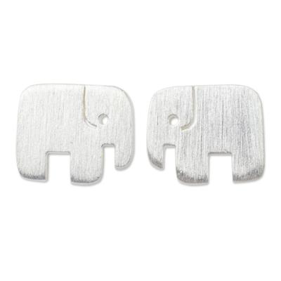 Sterling silver stud earrings, 'Elephant Couple' - Unique Artisan Earrings - Loving Elephant Jewelry