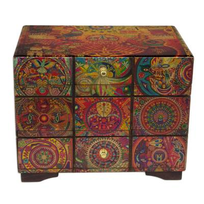 Decoupage jewelry box, 'Huichol Portal' - Decoupage Jewely Box with Drawer