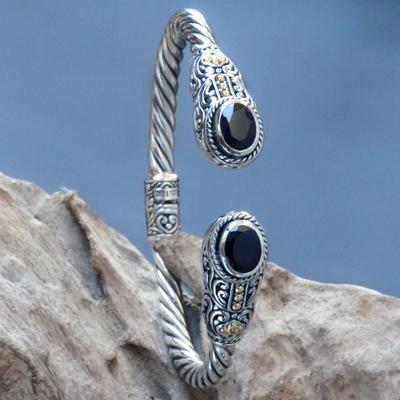 Garnet cuff bracelet, 'Gelgel Empress' - Regal Garnet Cable Design Hinged Cuff Womens Bracelet