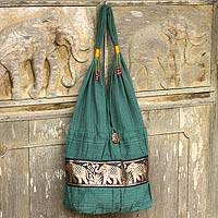Cotton shoulder bag, 'Emerald Thai' - Elephant Embroidery Shoulder Bag