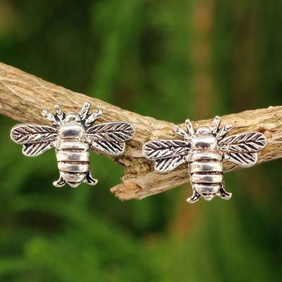 Sterling silver stud earrings, 'Honeybees in Flight' - Honeybee Sterling Silver Post Earrings