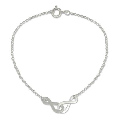 Sterling silver pendant bracelet, 'Into Infinity' - Linked Infinity Symbol Bracelet in Brushed Sterling Silver