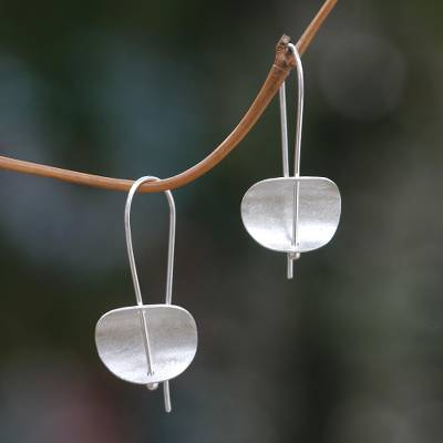 Sterling silver drop earrings, 'Minimal Effort' - Modern Sterling Silver Earrings