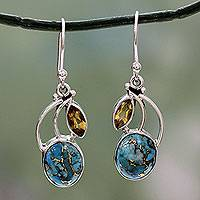Citrine dangle earrings, 'Moonlight Mystique' - Turquoise and Citrine Sterling Silver Earrings