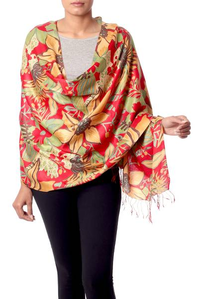 Rayon and silk blend shawl, 'Kashmir Blossom' - Colorful Floral Shawl Woven from Rayon and Silk Blend