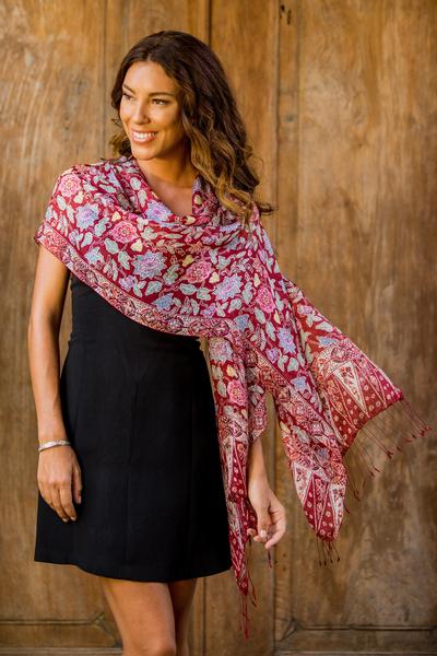 Silk batik shawl, 'Pekalongan' - Silk Batik Scarf