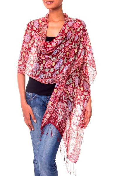 Silk batik shawl, 'Wine Garden' - Artisan Crafted Batik Silk Shawl Wrap