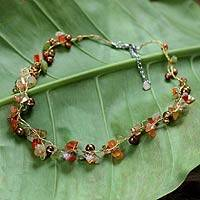 Pearl and carnelian strand necklace, 'Tropical Elite' - Beaded Carnelian and Pearl Necklace