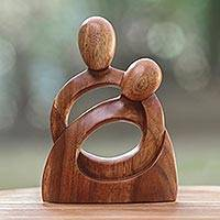 Wood sculpture, 'Eternity of Love' - Romantic Wood Sculpture