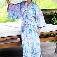 Cotton batik robe, 'Rushing River'
