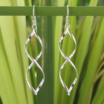 Sterling silver dangle earrings, 'Infinito' - Modern Sterling Silver Dangle Earrings from Thailand