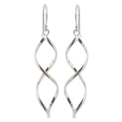 Sterling silver dangle earrings, 'Infinito' - Modern Sterling Silver Dangle Earrings from Thailand
