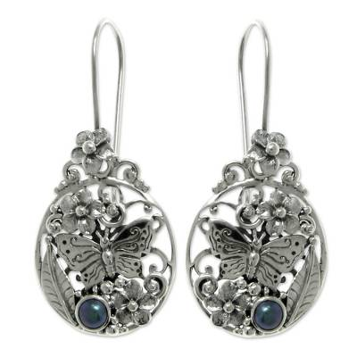 Cultured peacock pearl drop earrings, 'Frangipani Butterfly' - Sterling Silver and Pearl Drop Earrings