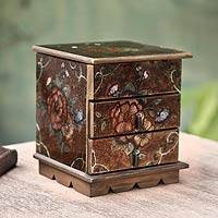 Painted glass jewelry box, 'Eternal Flowers' - Andean Reverse Painted Glass jewellery Box with Mirror