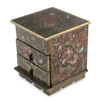 Painted glass jewelry box, 'Eternal Flowers' - Reverse Painted Glass Chest