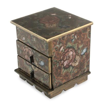 Painted glass jewelry box, 'Eternal Flowers' - Andean Reverse Painted Glass jewellery Box with Mirror