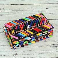 Upcycled coloring pencils box, 'Zigzag Rainbows' - Coloured Pencils Upcycled Decorative Box