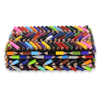 Upcycled coloring pencils box, 'Zigzag Rainbows' - Coloured Pencils Upcycled Decorative Box